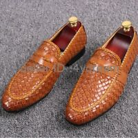 mens woven breathable slip on casual business leather shoes loafers Size 36-46