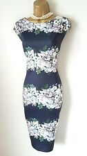 PHASE EIGHT Dress 20 BNWT Lilana Navy Blue Floral Stretch Wiggle Party Wedding
