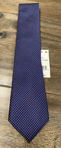 NEW The Men's Store Bloomingdales 100% Silk Tie Navy Pink $59 NWT FREE Shipping