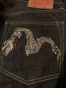 Evisu Osaka Japan Silver Dragon Embroidered Jeans Size 32 Extremly Rare