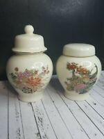 "2 Vintage Cream Small Ceramic  Ginger Spice Jar Flowers Peacock Lids 4.5"" & 3.5"""