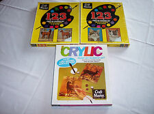 3 Vintage 1970's Craft Master Paint by Number Kits Horses Cats Deer Unopened!