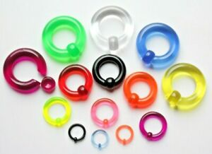 2mm-8mm CBR Genital Prince Albert Heavy Gauge Acrylic Coloured Captive Bead Ring
