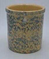"Robinson Ransbottom Pottery 1 QT.  #700-E  Blue Spongeware Crock 51/8"""