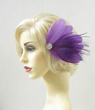 Purple Silver Peacock Feather Fascinator Hair Clip Diamante Headpiece Races 298