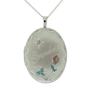 "TOC Sterling Silver Grandma Crystal Set Oval Locket Necklace 18"""