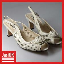 vintage Vesuvio Ivory Beige Leather Women's Ladies' Heels Shoes - Uk 5 (Eu 38)