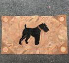Wonderful Antique American Hooked Rug With  Schnauzer Dog And Bullseyes Corners.