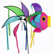 Moulin à vent girouette poisson géant multicolore, décoration de jardin neuf