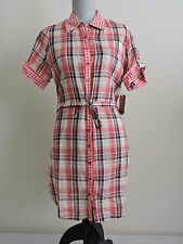 Dereon by Beyonce Plaid Dress Pink Western Lightweight Button Down Womens XL NWT