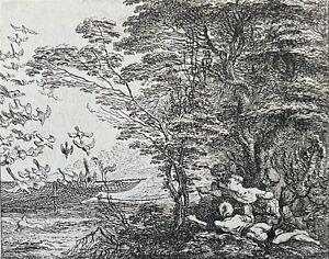 Chasse aux oiseaux avec filet Claude GILLOT (1673-1722) gravure 1719 France