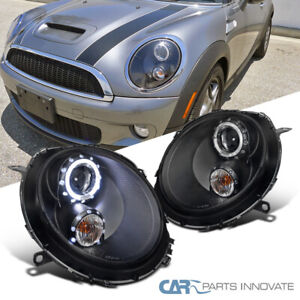 For 07-13 Mini Cooper Matte Black LED DRL Halo Projector Headlights Signal Lamps