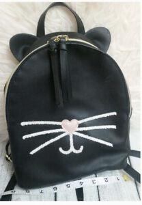 Cute Cat Bookbag Ears Pink Heart Nose & Whisker Mini Black Backpack Purse
