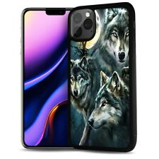 ( For iPhone 11 ) Back Case Cover AJ12399 Night Wolf