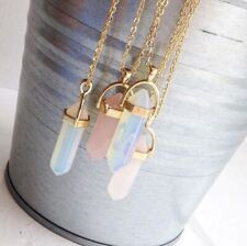 Boho Festival Pendant Boutique Uk Gold Pink Crystal Necklace Fashion Party