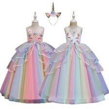 Unicorn Kids princess Party Long ball Gown flower girl Dress birthday gift 4-12Y
