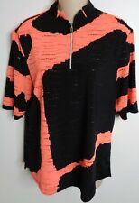Jamie Sadock Golf Top Shirt 1/4 Zip Hot Pink Black Stretch Medium Golfing