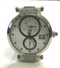NEW MARC ECKO E12504M2 40mm Date, 24hr,12hr White Leather Ladies Watch #44