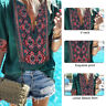 Women Summer Deep V Short Sleeve Tops Ethnic Style Bohemian Blouse Ladies Shirt