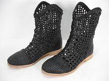 FIEL BLACK WOVEN PERFORATED WICKER STYLE PULL ON ANKLE BOOTS WOMEN'S 6.5