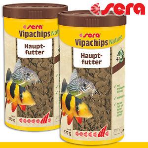 Sera 2x 1000ml Vipachips Fish Food Natürlich Food Tablets Fish Growth Aquarium