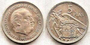 España-Estado Español. 5 Pesetas 1957*61 Madrid. SC/UNC. Niquel. 5,7 g. Escasa