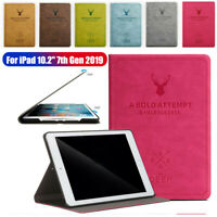 "For iPad 7th Gen 10.2"" 2019 Retro Smart Auto Wake Sleep Leather Stand Case Cover"