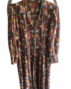 VINTAGE Floral Shirt Dress Full Length Button Long Sleeve Pocket Jacket 70s Sz16