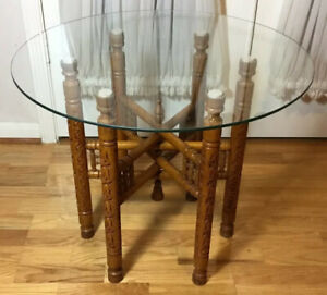 """Vintage Hand Carved Wood 6 Leges Foldable Side End Table w/Glass Top 19.5""""Hx24""""D"""