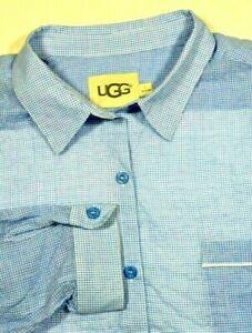 UGG Women's Blue White Check Maisie Gingham Sleep Shirt Large