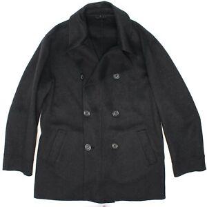 Armani Collezioni Mens Unstructured Peacoat L 40 Dark Gray Cashmere Coat