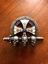 3 Head Skull Sword Cross Celtic Irish Evil Scary Metal Unisex Men's Belt Buckle