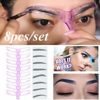 8PCS DIY Eyebrow Shaper Makeup Template Eyebrow Grooming Shaping Stencil Kits