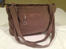 Large THE SAK Brown Beige Crocheted Knit & Nylon Shoulder Bag Handbag Tote EUC