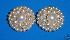 Vintage Star Silvertone Clip Pearl Earrings VERY NICE!