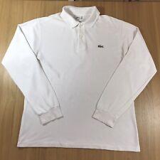 Mens LACOSTE Devanlay Long Sleeve Polo Shirt White | Size 4 Medium M
