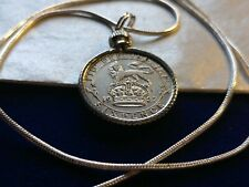 "Antique English 1927 UK Silver Sixpence Pendant on a 28"" 925 Silver Snake Chain"