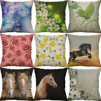 "18"" Cotton Linen Print rose Flower horse Pillow Case Cushion Cover Home Decor"