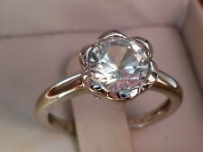 10k White Gold Created White Sapphire Flower Ring Size 7