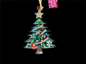 Betsey Johnson Green Enamel Crystal Christmas Trees Charm Pendant Coat Necklace