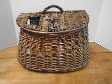 Vintage Creel Fishing Leather Wicker Basket Canvas Strap Trout Metal Large