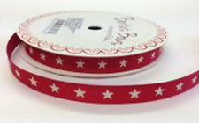 Bertie's Bows Ivory Star Print 9mm Red Grosgrain Ribbon on 3m Roll