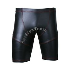 Sexy Men's WETLOOK Shiny Leather Shorts Tights Boxer Gothic Pants Lingerie Swim