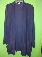 0112) CHICO'S ZENERGY  1 navy blue knit modal open front light jacket 1