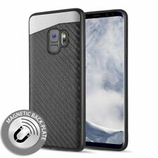 Samsung Galaxy S9 Plus - Magnetic Back-Plate Carbon Fiber TPU Rubber Case Cover