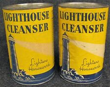 Lot of 2 Vintage Lighthouse Cleanser Containers FULL (AB18)