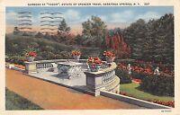 Saratoga Springs New York 1934 Postcard Gardens at Yaddo Estate of Spencer Trask