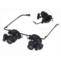 20x.fach Juwelier Uhrmacher Lupe Brillenlupe Lupenbrille LED UhrReparatur F2X3