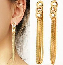 Boucle d'oreille dorée chainette pendante  Bijoux femme tendance 7 cm de long