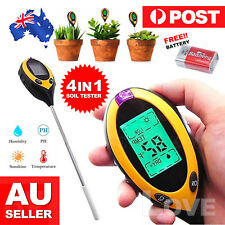 4 in 1 Digital Soil PH Moisture Sunlight Temperature Tester Meter Plant Lawns AU